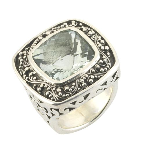 Lois Hill Green Amethyst Square Ring