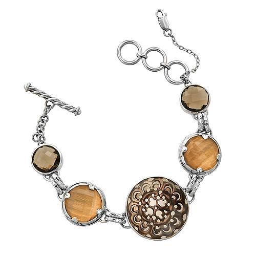 Lori Bonn Mandala Carved Medallion Link Bracelet