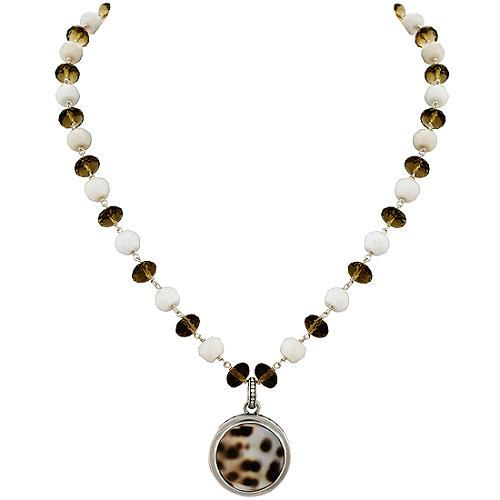 Lori Bonn Round Tiger Cowry Shell Pendant Necklace