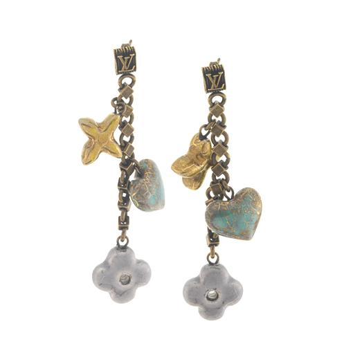Louis Vuitton Antique Fleur Heart Charm Earrings