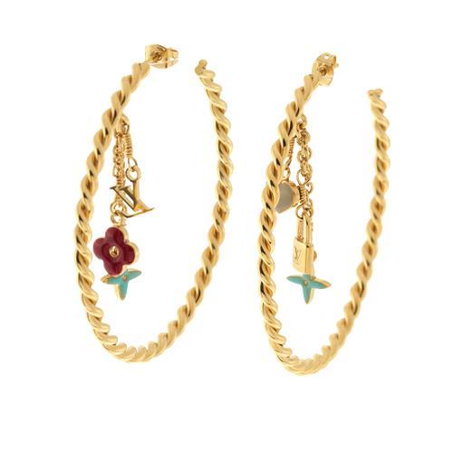Louis Vuitton Creole Sweet Monogram Violine Hoop Earrings