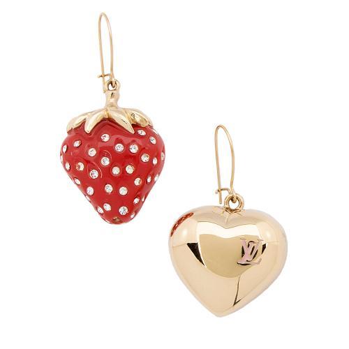 Louis Vuitton Strawberry Heart Earrings