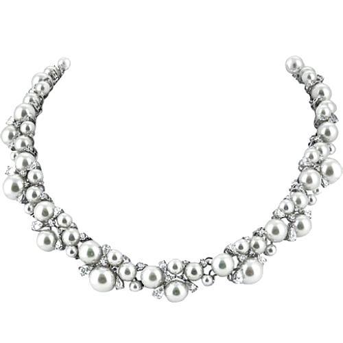 Majorica Cluster Collar Necklace