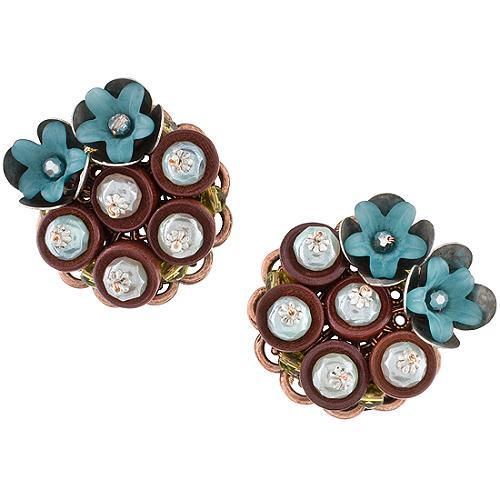 Miriam Haskell Beaded Wood Earrings