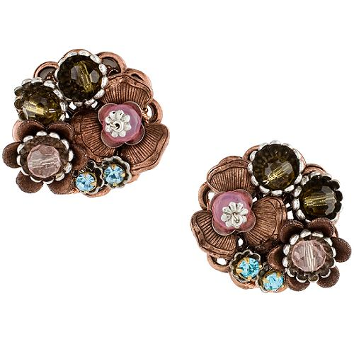 Miriam Haskell Copper Pastel Button Earrings