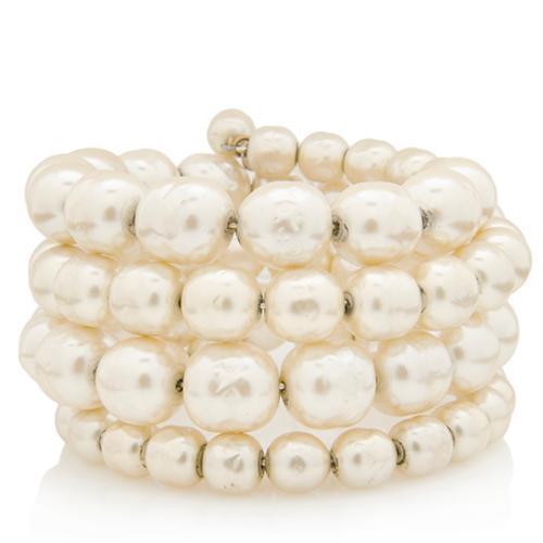 Miriam Haskell Faux Pearl Wrap Bracelet