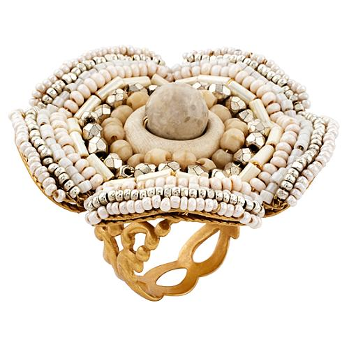 Miriam Haskell Flower Beaded Ring