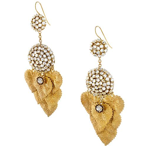 Miriam Haskell Leaf Pave Ball Drop Earrings