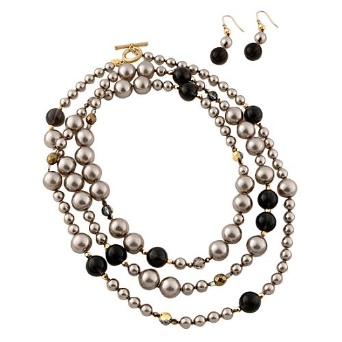 Miriam Haskell Long Pearl Necklace & Earring Set