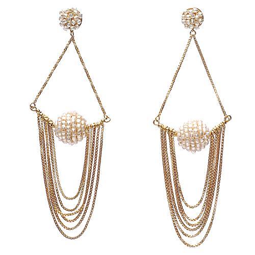 Miriam Haskell Multi Chain Drop Earrings