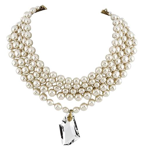 Miriam Haskell Pearl Choker With Swarovski Crystal Pendant