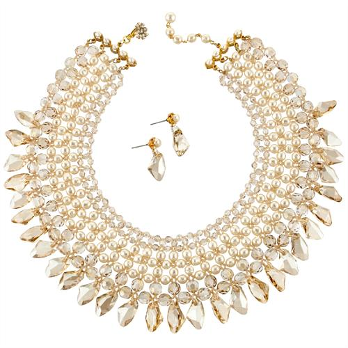 Miriam Haskell Pearl Collar Necklace & Earrings