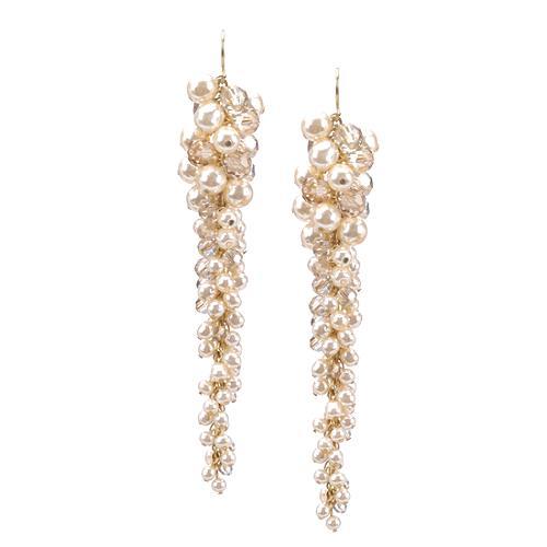 Miriam Haskell Pearl Long Cluster Earrings