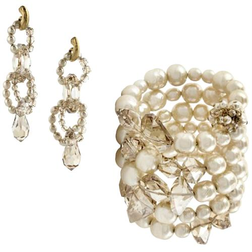 Miriam Haskell Pearl & Honey Coil Bracelet & Earrings - FINAL SALE