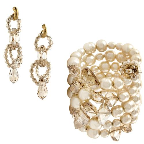 Miriam Haskell Pearl & Honey Coil Bracelet & Earrings