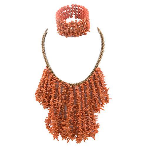 Miriam Haskell Vintage Coral Necklace & Bracelet Set