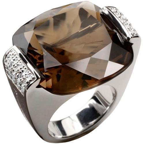 Pianegonda Smokey Quartz Glitter Drop Ring