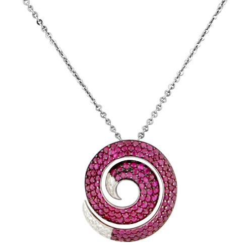 Roberto Coin Ruby Diamond Swirl Pendant