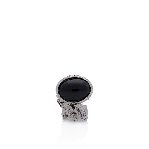 Saint Laurent Arty Plated Glass Ring - Size 8