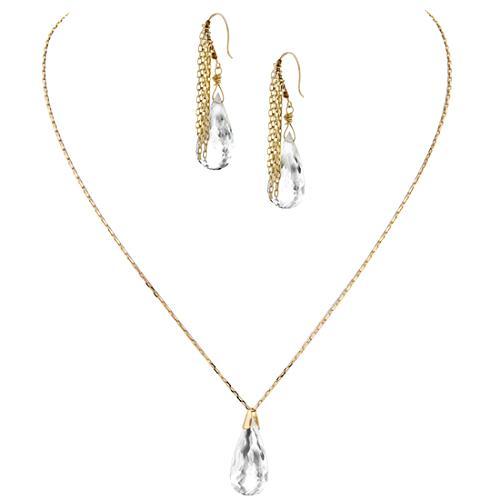 Simon Alcantara Clear Quartz Drop Necklace & Fringe Earrings