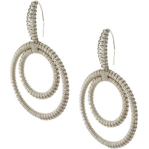 Simon Alcantara Double Drop Woven Hoop Earrings