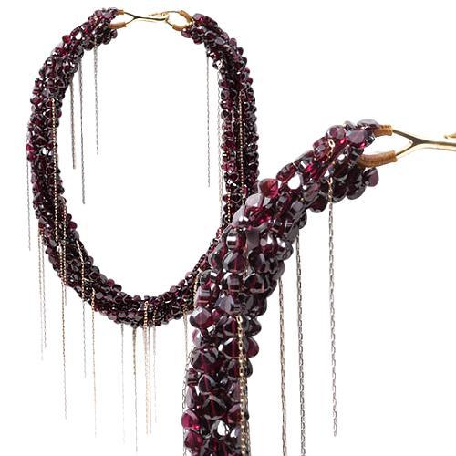 Simon Alcantara Exclusive Garnet Necklace with Gold Strands