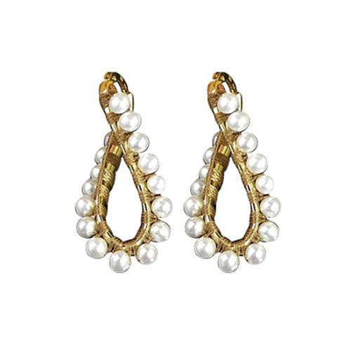 Simon Alcantara Pearl Twist Hoop Earrings
