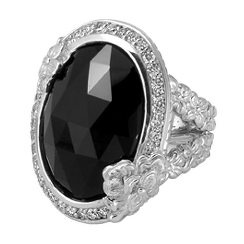 Stephen Dweck Black Agate Oval Facet Ring - Size 7