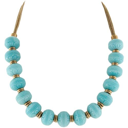Stephen Dweck Carved Blue Quartzite Necklace