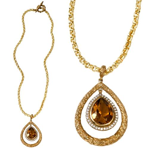 Stephen Dweck Engraved Cognac Quartz and Diamond Pear Necklace