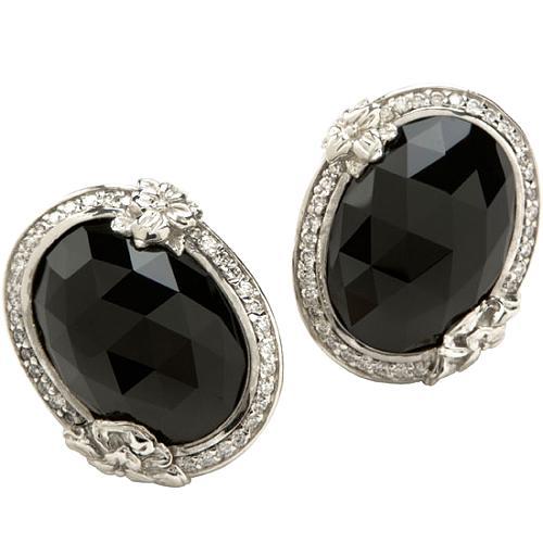 Stephen Dweck Oval Black Agate Flower Earrings
