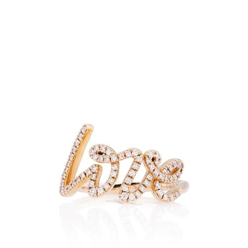 Tiffany & Co. 18kt Rose Gold Diamond Love Ring - Size 6