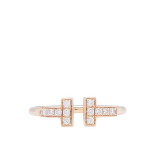 Tiffany & Co. 18kt Rose Gold Diamond T Wire Ring - 5 1/2