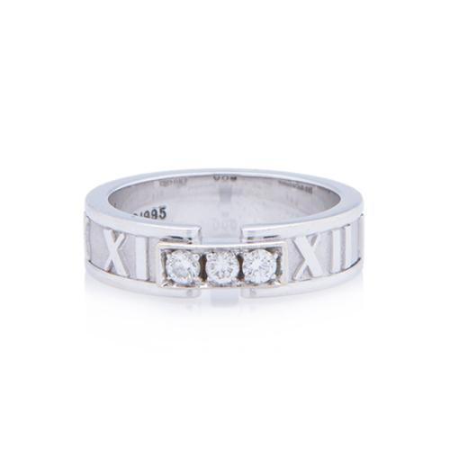 Tiffany & Co. 18kt White Gold Diamond Atlas Ring - Size 7