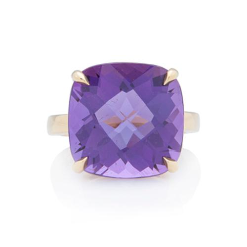 Tiffany & Co.18kt Yellow Gold Amethyst Sparklers Cocktail Ring - Size 5