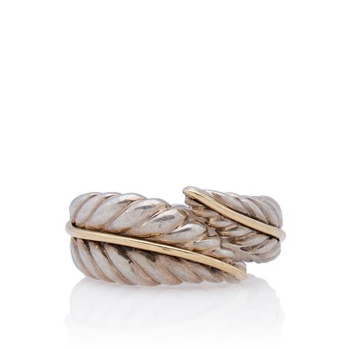 Tiffany & Co. 18kt Yellow Gold Sterling Silver Feather Ring - Size 7