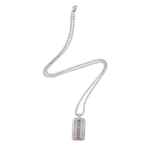 Tiffany & Co. Atlas  Sterling Silver I.D. Tag Necklace