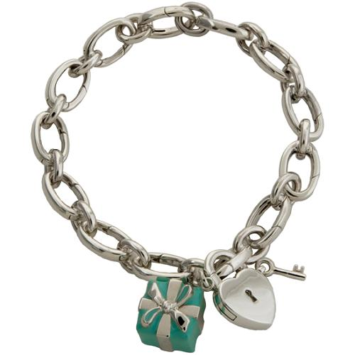 Tiffany & Co. Blue Box & Heart Lock Charm Bracelet