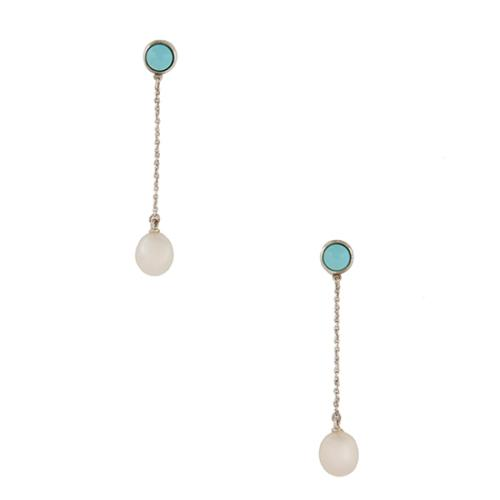 Tiffany Co Elsa Peretti Color By The Yard Turquoise Pearl Drop Earrings