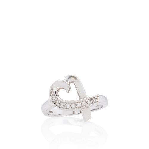 Tiffany & Co. Paloma Picasso 18kt Diamond Loving Heart Ring - Size 7