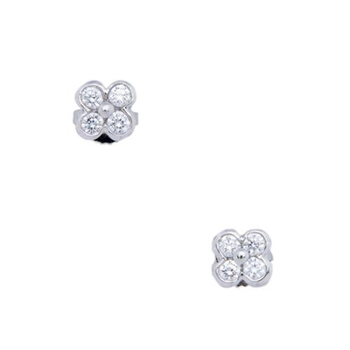Tiffany & Co. Platinum Diamond Floral Lace Clover Earrings
