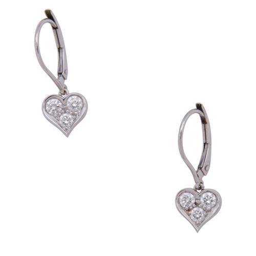 Tiffany & Co. Platinum Diamond Hearts Drop Earrings