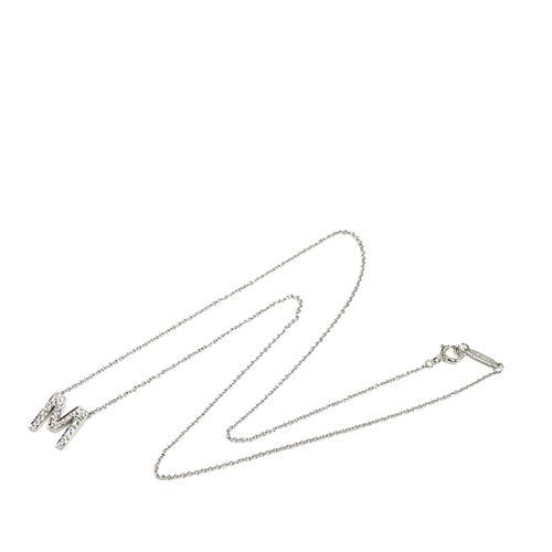 Tiffany & Co. Platinum Diamond Initial M Pendant Necklace