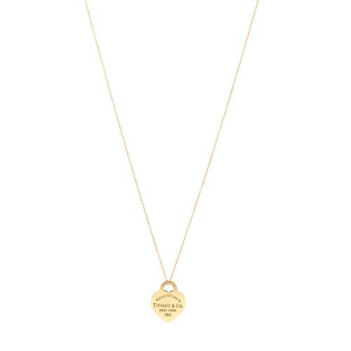 Tiffany & Co. Return to Tiffany 18k Gold Heart Tag Charm Necklace with Chain