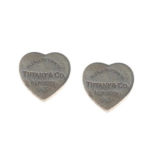 Tiffany Co Return To Sterling Silver Mini Heart Tag Earrings