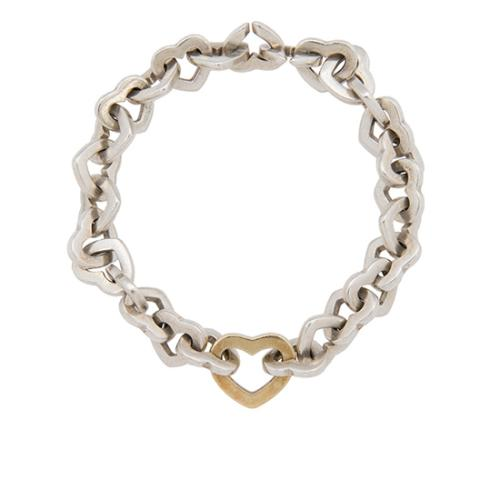 Tiffany & Co. Sterling Silver 18kt Yellow Gold Heart Link Bracelet