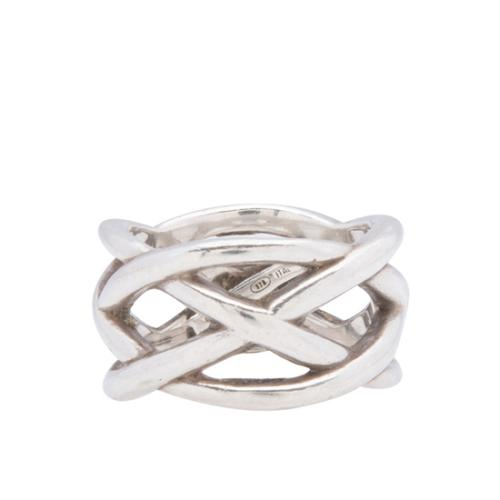 Tiffany & Co. Sterling Silver Braided Crisscross Ring - Size 7