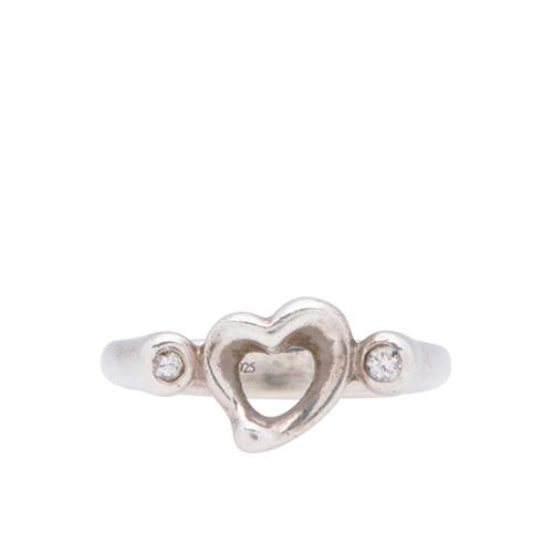 Tiffany & Co. Sterling Silver Diamond Open Heart Ring - Size 6 1/2
