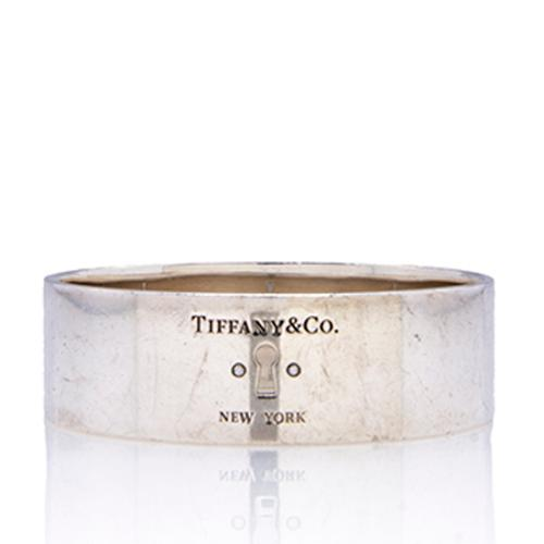 Tiffany & Co. Sterling Silver Diamond Wide Locks Bangle Bracelet