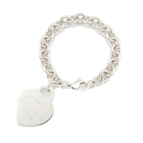 Tiffany & Co. Sterling Silver Extra Large Heart Tag Charm Bracelet